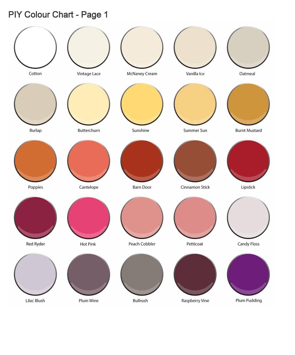 PIY Paint Colours PIY Paint Products